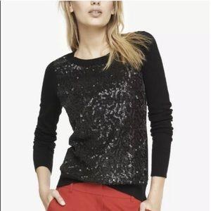 Express sequins black crew neck sweater Large